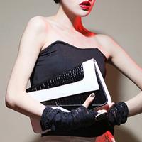 New arrival  day clutches fashion pu leather vintage women's messenger bags color block envelope bag briefcase bag