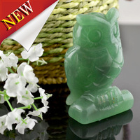 2.5'' Natural Green Jade Craving Craft owl carved craft Figurine Desk Decorations House Protection Decor