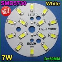 5pcs/lot Free shipping 7W natural white 50mm 55-60lm 18-24V 300Ma LED PCB with 5730 LEDS installed for E27 B22 GU10 Lamp bulb