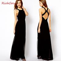 2014 New fashion off the shoulder sexy backless dress,European elegant dress,plus size S -- XXXL women hollow out chiffon dress