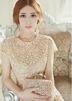New 2014 summer girl lace dress party dress for women with lace and beading  short  sleeve  knee length  beige white