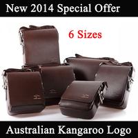 New 2014 Genuine Leather Men Messenger Bags Australia Kangaroo Logo Zipper 6 Size 2 Color Men Travel Bags Drop Shipping M207
