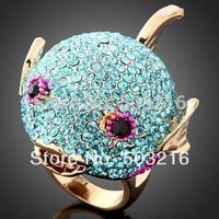 High Quality Sky Blue Crystal 18 K Gold Plated Fashion Imitation Diamond Fish Desing Finger Ring