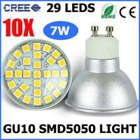 10PCS/LOT 29 SMD 5050 GU10 Socket LED Bulb Lamp Spotlight 7W Warm White/Cold White Cree Light AC220-240V Replace Halogen