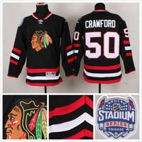 2014 newest stadium series men's stitched chicago blackhawks 50 Corey Crawford   black ice hockey jersey/shirt