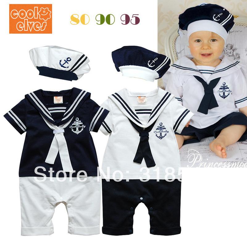 O envio gratuito de 6 pçs/lote desgaste do bebê bebés meninos manga curta macacão de bebê menino marinheiro da marinha macacão + chapéu(China (Mainland))