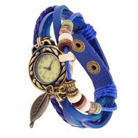 Women Dress Watch Casual  Relogio Feminino Bracelet Retro Leaf  Wrist Watch Leather Strap Quartz  Watch  - Blue