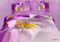 New Beautiful 4PC 100% Cotton Comforter Duvet Doona Cover Sets FULL / QUEEN / KING SIZE bedding set 4pcs white purple yellow op3