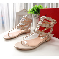Warren v flip sandals flat heel rivets color block female shoes