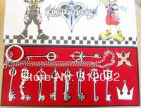 12PCS/lot  Kingdom Hearts II KEY BLADE Sora Necklace Keyblade Pendant Set New  Gift  Free Shipping Silver Color