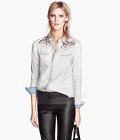 Slim Denim Women Blouse Embroidery Spring 2014 Women Blouses Plus Size Shirt Women HDY-306