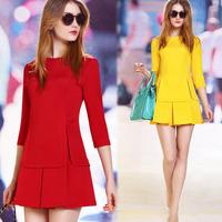 Fashion 14 spring slim elegant ol faux two piece set three quarter sleeve basic round one-piece dress