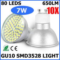 10PCS/LOT High Power 7W GU10 3528 SMD 80 Leds Bulb Lamp Spotlight AC220-240V CE/RoHS Warm/Cool White 2 Years Warranty