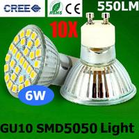 10PCS/LOT Ultra Bright Cree 6W GU10 SMD 5050 Led Bulb Spotlights AC220-240V CE/RoHS Warm/Cool White 2 Years Warranty