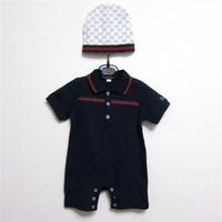 Retail Hot sell new 2014 baby clothing set 2pcs short sleeve  baby bodysuits+hat baby boy newborn summer clothing free shipping