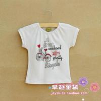 Children's clothing fashion baby girl's 100% cotton white letter print short-sleeve t-shirt