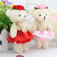 Super romantic 12pcs 12cm bouquet wedding joint small pipa candy teddy bear plush phone pandent doll stuffed toy gift wholesale
