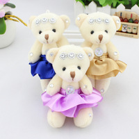 Super cute 12pcs 12cm bouquet wedding joint disposition teddy bear plush bag phone pandent doll stuffed toy gift wholesale