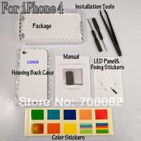 Wireless Luminescent LED Light Logo Mod Kit Glowing Logo Back Cover Case+Tools For iPhone 4G