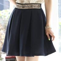 Free Shipping Women's Summer Autumn Skirts 2014 Fashion Elegant OL Pearl Beading High Waist Slim Pleated A-line Bust Skirt Sale