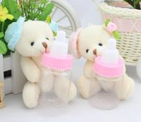 Super cute 8pcs 9cm bouquet wedding joint teddy bear hold bottle little plush bag phone pandent doll stuffed toy gift wholesale