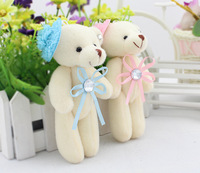 Super romantic 12pcs 12cm bouquet bowknot flower wedding banquet creative teddy bear little plush pandent doll gift wholesale