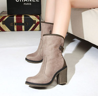 Comfortable thick high-heeled medium-leg boots ultra high heels thick heels shoes