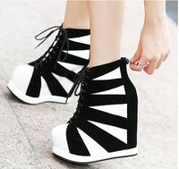 Ultra high heels boots platform wedges platform princess color block decoration autumn 2013 women's autumn and winter shoes