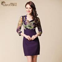 Dora gauze fashion elegant ol skirt step one-piece dress  Free shipping