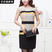 Fashion chic elegant formal 2014 spring sleeveless one-piece dress  Free shipping