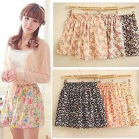 Summer New 2014 Fashion Korean Woman Chiffon skirt Pleated Short Skirts Patterns Printed Women skirt With Belt Free Shipping