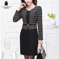 Women's formal faux two piece elegant formal woolen one-piece dress  Free shipping