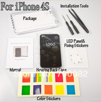 Luminescent Wireless LED Light Logo Mod Kit Glowing Logo Back Cover Case+Tools And Retail Package For iPhone 4S