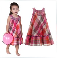 High-end quality New Monsoon brand Classic plaid children's princess dress original design Sleeveless double layer girls dress