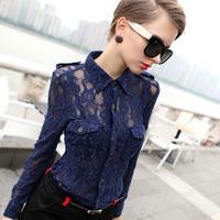 Krazy 2013 autumn fashion vintage women's sexy lace long-sleeve shirt female 821
