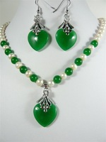 12 color-white pearl &green/purple/red/blue heart jade necklace pendant earrings