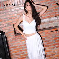 Krazy sexy V-neck short spaghetti strap design elegant pleated full dress set 6055