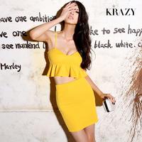 Krazy sexy possbie low-cut slim ruffle short set design tops 6030