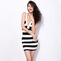 women clothing Krazy sexy fresh V-neck slim curve stripe suspender skirt 6044
