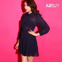 Krazy vintage ladies peter pan collar long-sleeve chiffon one-piece dress princess dress slim waist pleated skirt 935