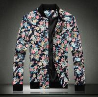 Big Size M-5XL 2014 Autumn new casual men's jackets Fashion baseball collar design men's Floral jacket Spend Coat High quality