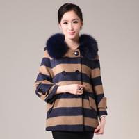 2014 new winter women stripe short design cashmere overcoat turn down collar outerwear Y2P5