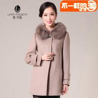 2014 new winter  women turn down collar fox fur cashmere overcoat woolen outerwear Y2P5