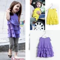 Y 304852-33 New 2014 Summer Baby Girl Cake Dress Solid Tiered Girl Clothing Sleeveless Girl Chiffon Tank Girl Cake Dress