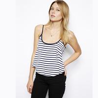 2014 Black and white stripe back ribbon cross square grid adjustable spaghetti strap loose female vest