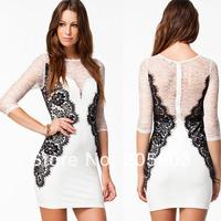 Free shipping White Long Sleeve Vintage Lace Bodycon Dress Wholesale 12pc/lot  Sexy Clubwear 2014 cheap dress 2989