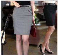 2014 spring autumn lady's big size Skirts women High Waist Career Short Skirts Slim Hip Knee-Length Pencil Skirt 4 Color S-XXXL