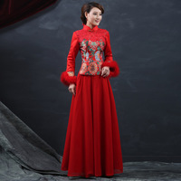 New 2014 Bride Cheongsam for the reception Red Embroidery add cotton for the spring and autumn winter