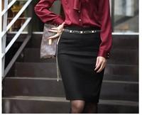 2014 spring autumn New lady's big size Skirts women High Waist Career Short Skirts Slim Hip Knee-Length Pencil Skirt S-XXL