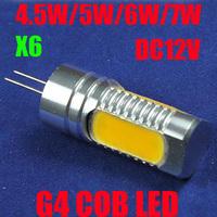 6X High Power G4 COB SMD 4.5W 5W 6W 7.5W DC12V LED Corn Light Lamp Bulbs Car Led Lighting Spotlight Warm/Cold White CE/RoHS